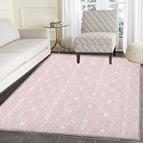 Pink and White Anti-Skid Area Rug Victorian Style Girly Feminine Pattern with Curly Leaves Hearts and Flowers Door Mat Increase 5'x6' Blush White
