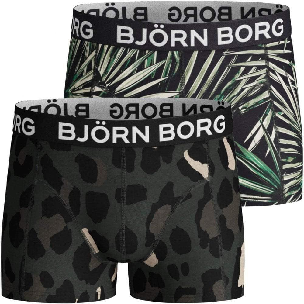 Bjorn Borg 2-Pack Palms & Camo Print Boys Boxer Trunks, Khaki/Black