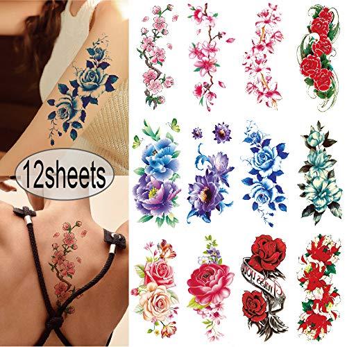YAKAGO 12 Sheets Flower Temporary Tattoos For Women Rose Cherry Peony Peach Blossoms Fake Tattoo Body Art Adult Waterproof Stickers