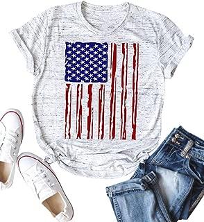 ZJP Women American Flag Print Tops Crew Neck Short Sleeve Casual T-Shirt Blouse