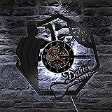 GVSPMOND Reloj de Pared de Vinilo Retro Dardos Arte de Pared Disco de Vinilo Reloj de Pared Bar Club Sala de Juegos Tablero de Dardos