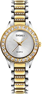 Women Fashion Swarovski Crystal Accented Gold-Tone Stainless Steel Quartz Watch Ladies Waterproof Dress Two-Tone Bangle Bracelet Wristwatches
