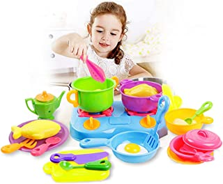 Coxeer 60PCS Kitchen Cooking Set Fruit Vegetable Tea Playset Toy Kids Kitchen Toy Set Funny Pretend Play Toy Gift Toy for Kids