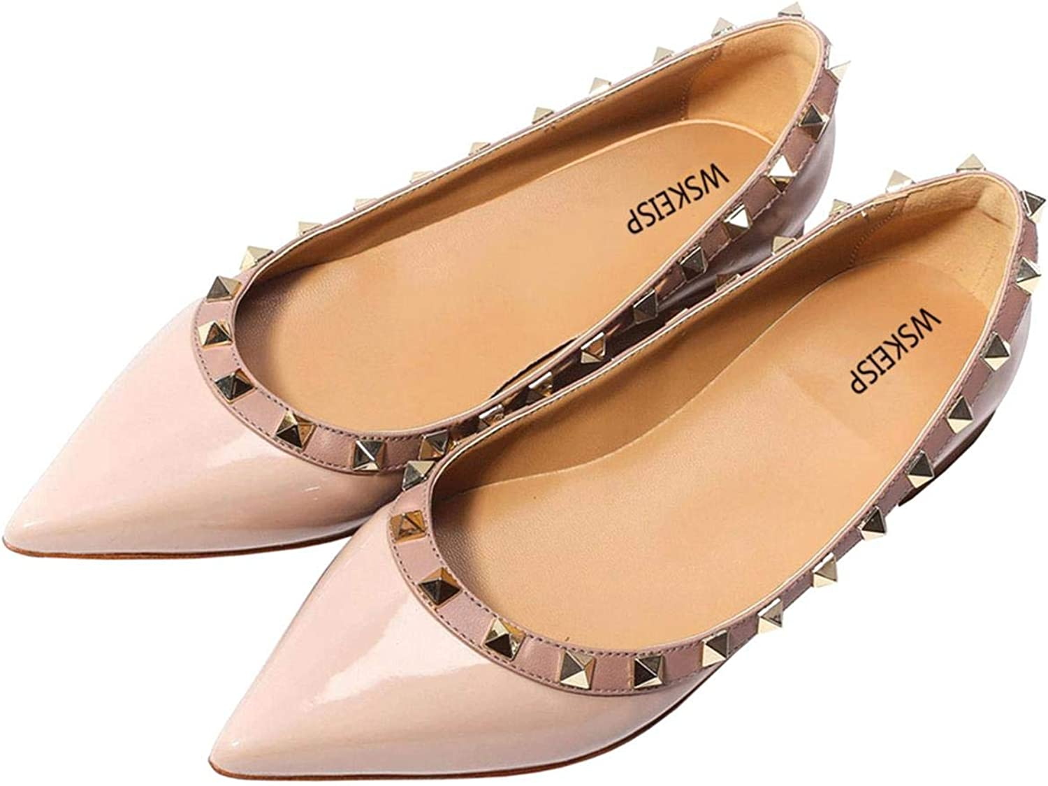 WSKEISP Women's Rivets Studded Flats shoes Slip on Pointed Toe Wedding Dress shoes