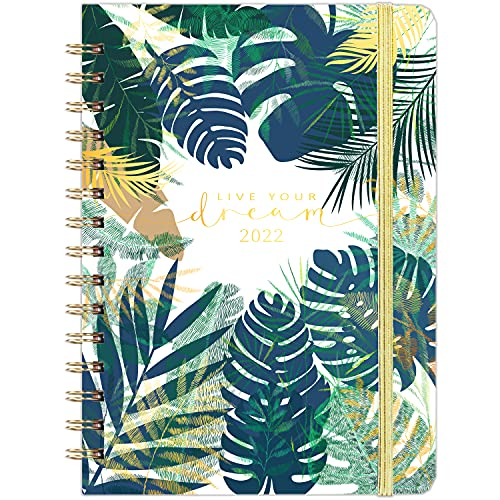 2022 Diary – A5 Diary 2022 Week to View January to December 2022 Twin-Wire Binding Tabs Hardcover Pocket Note Pages Green Leaves Ideal Gift Choice for Christmas