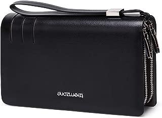 Teemzone Mens Clutch Bag Genuine Leather Business Clutch Purse Handbags Wrist Bag Clutch Wallet Organizer Long Wallet Passport Card Cash Holder With Zipper