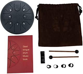 Steel Tongue Drum, 6 Inch 8 Tones Alloy Drumpan C Major Hand Tankdrum Percussion Instrument Pan Drum with Rubber Support Pad, English Music Score, Stick Holder, Finger Stall and Storage Bag (Blue)