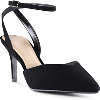 AFFORDABLE FOOTWEAR Women's Pointy Toe Low Platform High Heels Stiletto Dress Shoes