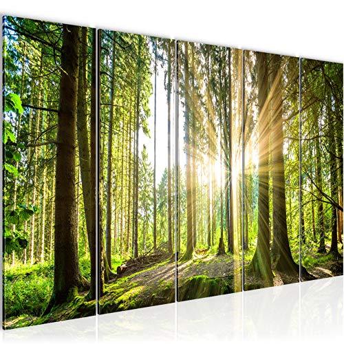 Runa Art Cuadro XXL Bosque paisaje 200 x 80 cm Verde 5 Piezas - Made in Germany - 503855b