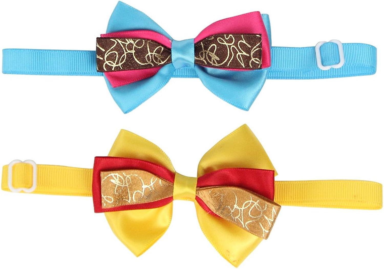 50PCs Wholesale gold Dog Collars Handmade Bow Tie Adjustable Detachable for Small Medium Dog