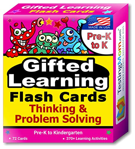 TestingMom.com Gifted Learning Flash Cards – Thinking & Problem-Solving for Pre-K – Kindergarten – Gifted and Talented Educational Toy Practice for CogAT Test, Iowa Test, NNAT, OLSAT, NYC Gifted
