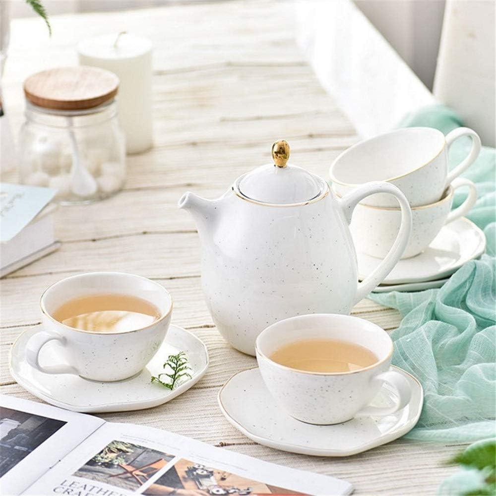 TEAYASON Tea Cup Set European Retro Ceramic Tea Set with Metal H