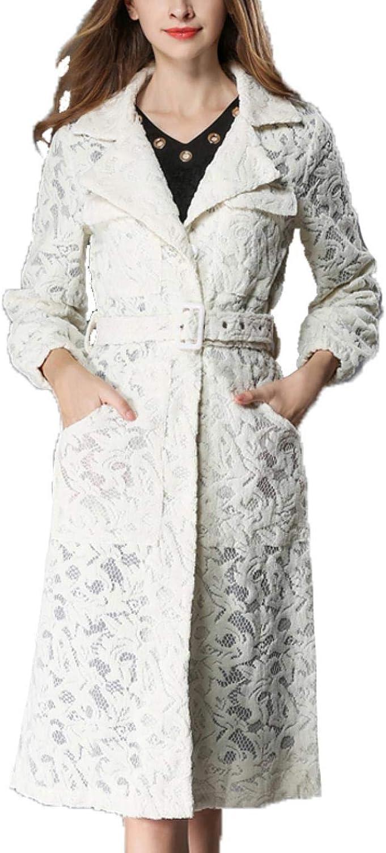 WsQScg Ladies Lace Windbreaker Jacket Lapel SingleBreasted Slim Jacket