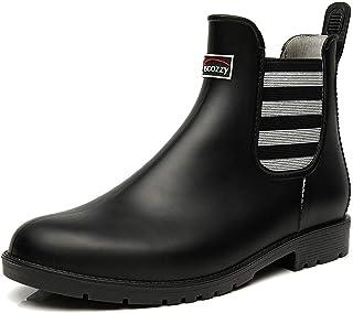 Rubber Ankle Rain Boots for Women - Waterproof Short Elastic Bootie Women, Fashion Chelsea Boots, Garden Shoes