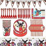 TRRY Bing Bunny Party Supplies Vajilla, Suministros De Fiesta De Cumpleaños, Platos, Tazas, Servilletas, Pajillas, Cucharas, Tenedores, Cuchillo, Mantel, Banners,82pcs