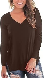 NIASHOT Women's Casual Long Sleeve Solid Soft V-Neck T-Shirt Tops