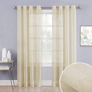 NICETOWN Living Room Sheer Curtains Voile Textured, Grommet Top Vertical Drapes Crushed Sheer Panels Crinkled Window Treat...