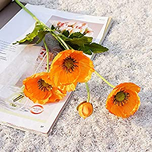 HLTER Artificial Poppies Flowers, 6Pcs Faux Poppy Flower Branches Mini Real Touch Poppy Silk Flower Anemone Poppy Bouquet for Wedding Decor Dining Table Centerpieces (Orange Yellow)