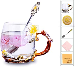 Flower Tea Cups, Unique Coffee Mugs, Glass Mug with Spoon Set, Handmade Lily Mothe's Day Gifts for Newlyweds, Christmas, New Year, Anniversaries, Parents, Weddings, Engagements, Couples (12oz, Yellow)
