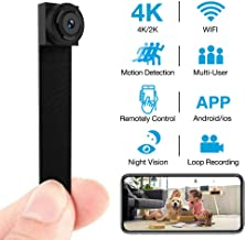 4K Hidden Camera WiFi Wireless 2019 Newest DIY Mini Camera with 7 Level Motion Detection Sensitivity and Automatically Turn on and Off Night Vision Function for iPhone/Android Home Security Camera