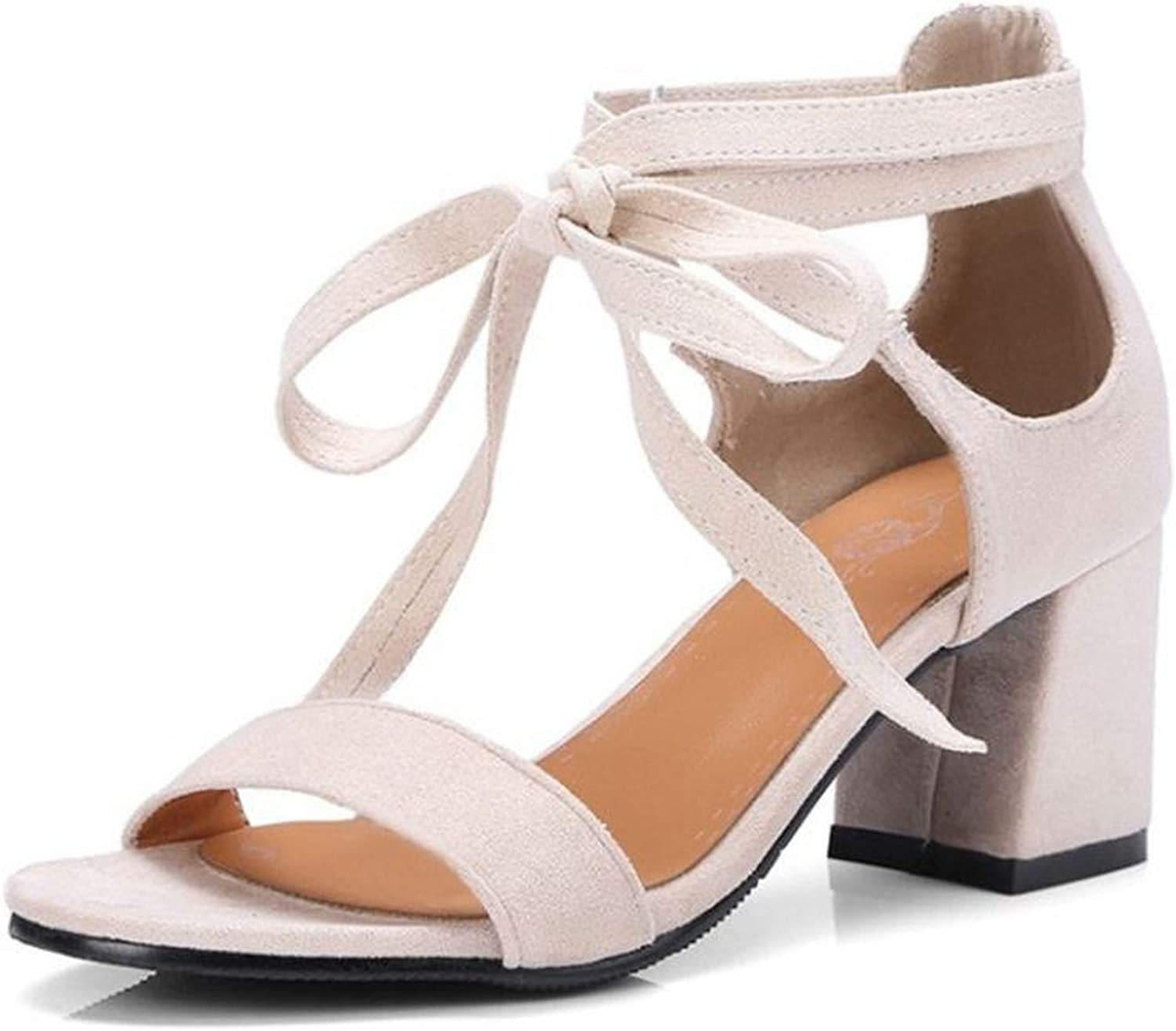 Forever Long Simple Women High Heel Sandals Cross Strap Solid color Thick Heel Sandals Summer Club shoes