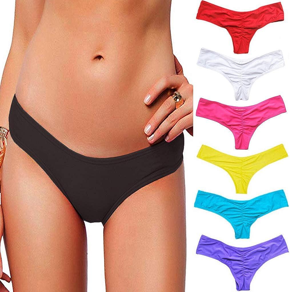STARBILD Women's Sexy Bikini Thong Bottom Ruched Brazilian Beachwear Cheeky Swimwear