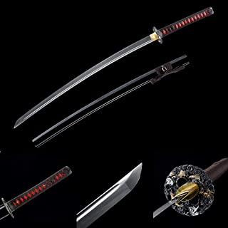 LQDSDJ Ultra Sharp Samurai Sword, Traditional Handmade Samurai Katana Sword Features of 1060 Carbon Steel, Damascus Folded...