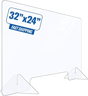 Portable Sneeze Guard, Made of 1/5 inch Thick Acrylic Plexiglass, Desk Employee Protection Shield for Grocery Stores, Reta...