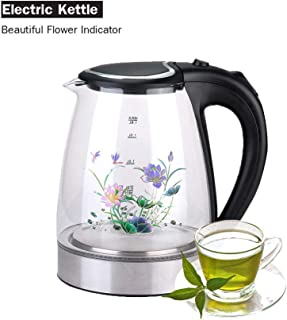 Electric Kettle Glass and Steel (1.8L) - with Unique and Beautiful Magic Heat Flower - Cordless - Fast Boiling - Auto Shutoff - Blue Illumination - LED Indicator Light - 1200W - FDA Approved