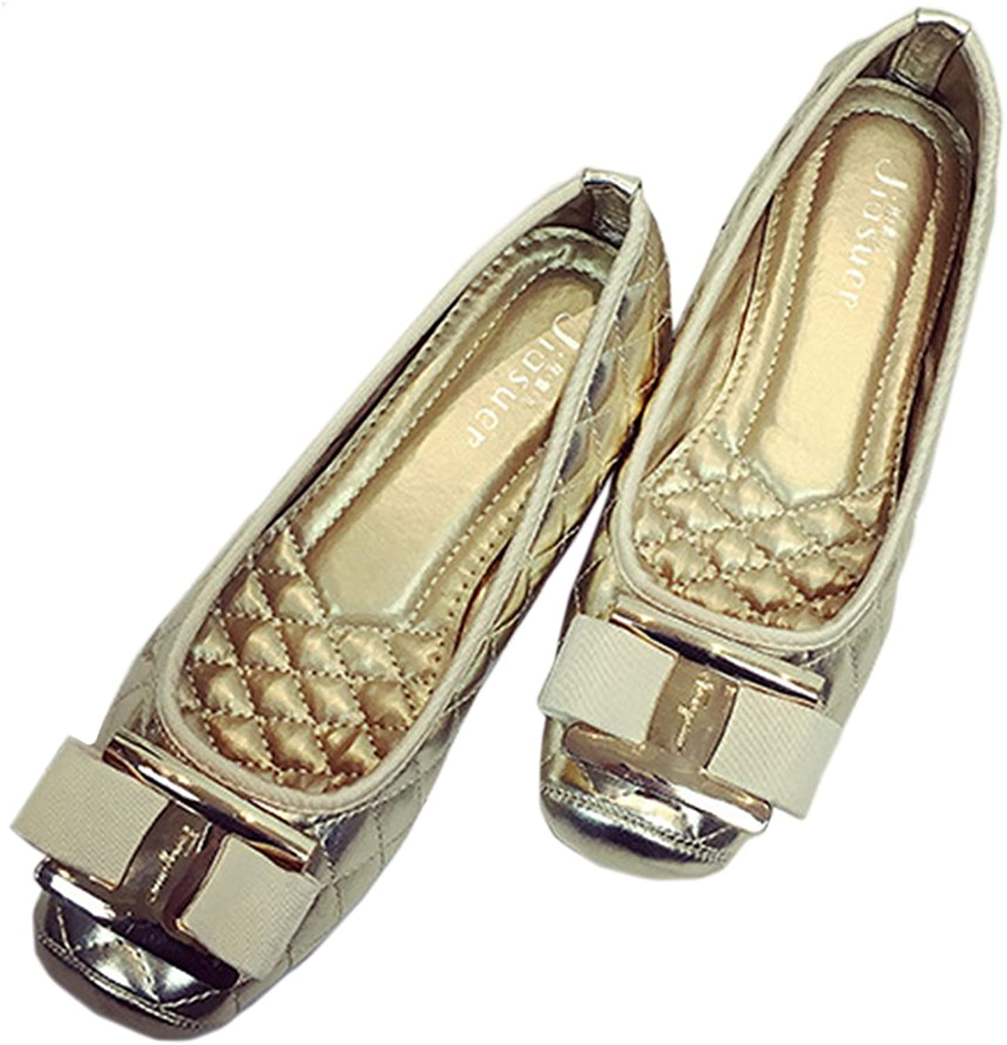 Metal Square Button Bowknot Flat Thin shoes golden 41