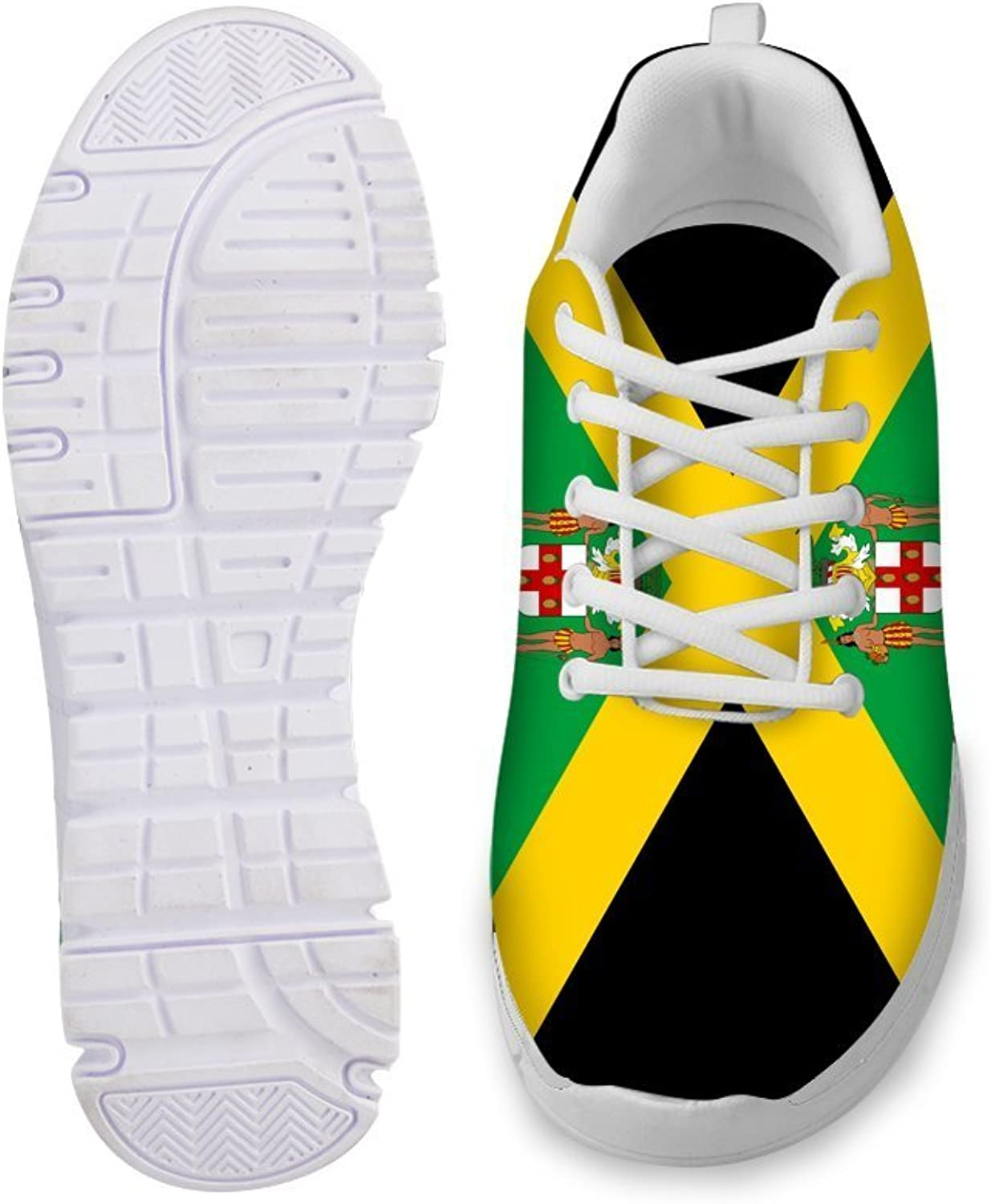 Owaheson Lace-up Sneaker Training shoes Mens Womens Jamaica Flag and National Emblem