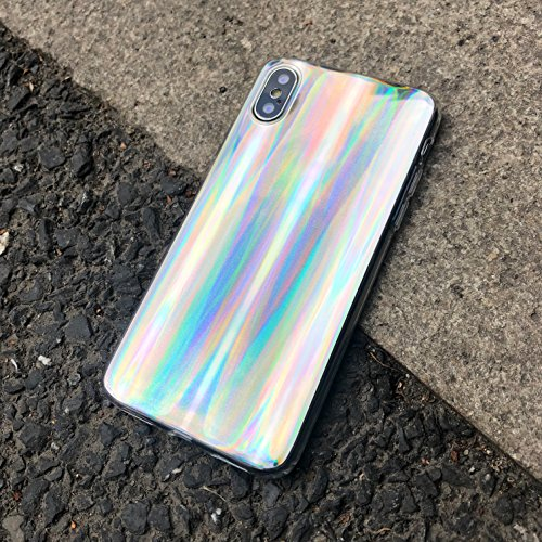 HolaStar for iPhone X Unique Simple Case Psychedelic Glitter Holographic Colorful Rainbow Effect Soft TPU Cover for iPhone 10 with Luxury Iridescent Pattern and Clear Edge Look