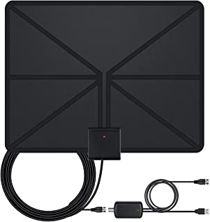 2019 Latest 130+ Miles Digital Amplified HD TV Antenna - Indoor TV Antenna 4K HD Freeview Life Local Channels All Type Television Local Channels w/Detachable Signal Amplifier and 16.5ft