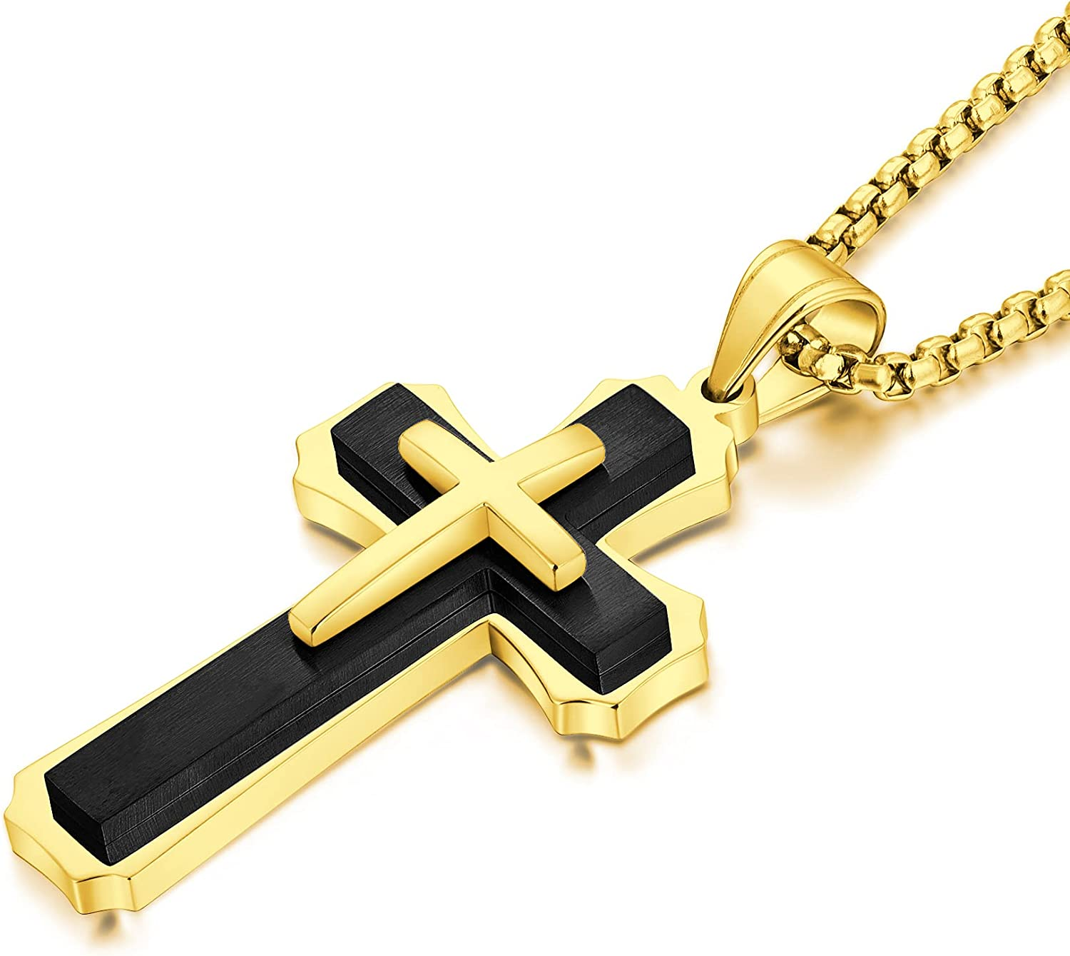 YL Cross Necklace for Men Stainless Steel Jesus Christ Crucifix Pendant Lord's Prayer Jewelry