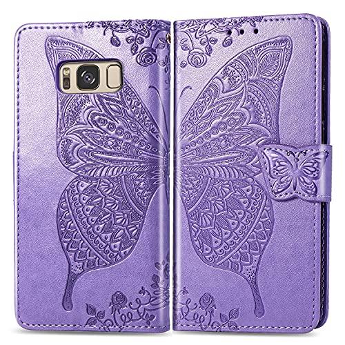 Teléfono Flip Funda Caja de la billetera para Samsung Galaxy S8 Plus, a prueba de golpes Bumper Flip Wallet Teléfono Funda / Correa de muñeca / Funda Floral Mariposa patrón Cartera Tapa trasera del te