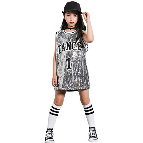 4edfdd4fbbb6 Girls Sequins Costume Hip Hop Dancewear Sparkle Sleeveless Tank Top Dress