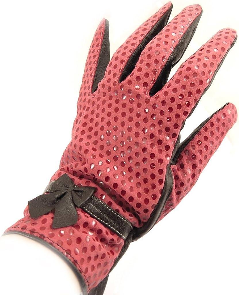 Leather gloves for women 'Scarlett'red.