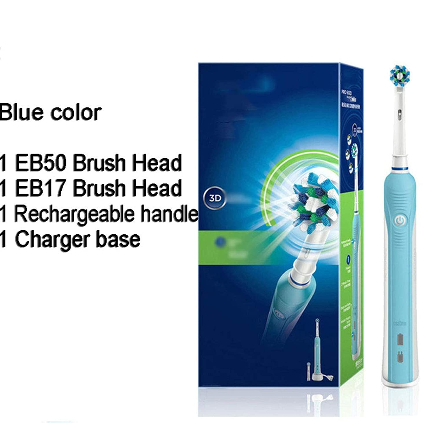 3D電動歯ブラシ口腔衛生電気充電式歯ブラシヘッドディープクリーン3Dホワイト歯ブラシヘッド,ブルー