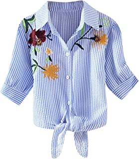 Women's Shirt Casual Flower Print Embroidery Blouse Loose Striped Shirt