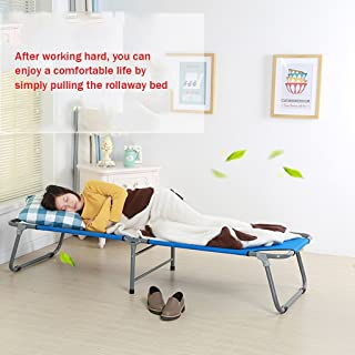 Loungers Folding Bed Single Bed Siesta Bed Simple Cloth Bed Camping Bed Accompanying Bed (Color : Red, Size : 180 * 62 * 34cm)