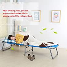 Folding Chairs Folding Bed Single Bed Siesta Bed Simple Cloth Bed Camping Bed accompanying Bed (Color : Red, Size : 180 * 62 * 34cm)