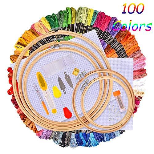 IMMEK Ricamo Starter Kit, Kit di Attrezzi a Punto Croce con 100 Fili Colorati, 5 Pezzi di Cerchi di bambù,12 da 18 Pollici Set di Aida e Aghi da Collezione Classic Count a 14 Pollici