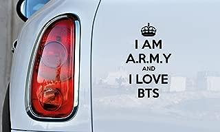 BTS I am ARMY Crown Car Vinyl Sticker Decal Bumper Sticker for Auto Cars Trucks Windshield Custom Walls Windows Ipad Macbook Laptop Home and More (BLACK)
