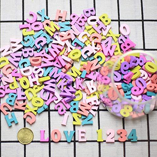 DAHI Buchstaben Holz Nummer ca.300 STK bunt Kleinbuchstaben Hölzerne Zahlen für Kunst Handwerk DIY Dekoration Anzeigen