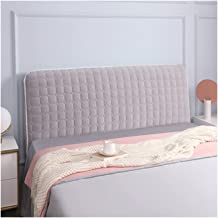 Bed Headboard Cover,Protector Thicken Cotton Dustproof Stretch Solid Color for Twin Queen Full King Size Beds (Color : Gre...