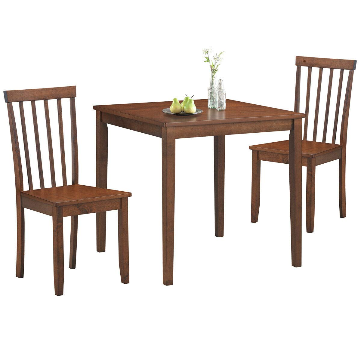 COSTWAY 9-Piece Kitchen Table Dining Set, Square Table & 9 Classic Chairs,  Solid Rubber Wood Legs, Wide Table Top