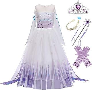 Robe de Princesse Manches Longues Reine des Neiges Longue Cosplay Costume de Robe Bleu Chaude Doux D/éguisements Partie Mascarade C/ér/émonie Halloween No/ël 3-10 Ans