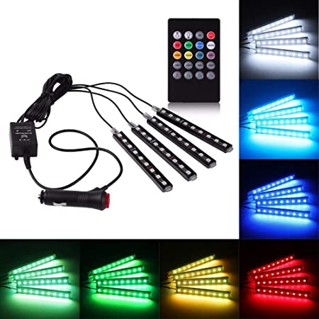Rally R000246 4x 9 LED for RGB Car Interior Decorative Light Floor Atmosphere Strip Light Car Under Dash Interior LED Lighting Kit with Sounds Activated Wireless IR Remote Control (6W, Multicolour)