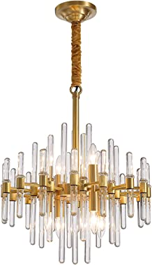 NOXARTE Gold Chandelier Modern Brass Pendant Light Contemporary Glass Ceiling Lighting Fixture for Dining Room Living Room