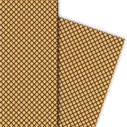 Kartenkaufrausch jaren 70 Retro cadeaupapier set met klein ruitpatroon, bruin, voor leuke cadeauverpakking, designpapier, scrapbooking, 4 vellen, 32 x 48 cm